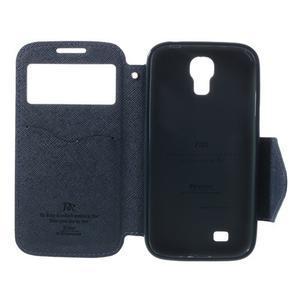 Okýnkové peňaženkové puzdro pre mobil Samsung Galaxy S4 - fialové - 6