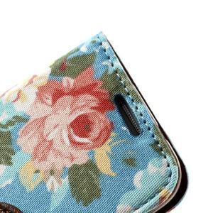 Květinkové pouzdro na mobil Samsung Galaxy S4 mini - modré pozadí - 6