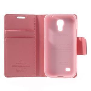 Sonata PU kožené pouzdro na mobil Samsung Galaxy S4 mini - růžové - 6