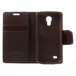 Sonata PU kožené puzdro pre mobil Samsung Galaxy S4 mini - hnedé - 6