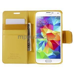 Elegantní peňaženkové puzdro pre Samsung Galaxy S5 - žlté - 6