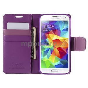 Elegantní peňaženkové puzdro pre Samsung Galaxy S5 - fialové - 6