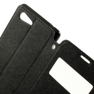 Peňaženkové puzdro s okienkom na Sony Xperia E3 - čierne - 6