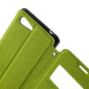 Peňaženkové puzdro s okienkom na Sony Xperia E3 - zelené - 6