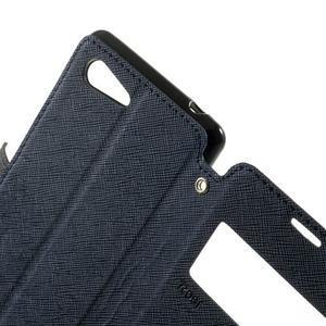 Peňaženkové puzdro s okienkom na Sony Xperia E3 - tmavomodré - 6