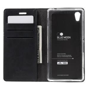 Moons PU kožené klopové puzdro pre Sony Xperia M4 Aqua - čierne - 6