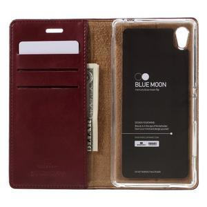 Moons PU kožené klopové puzdro pre Sony Xperia M4 Aqua - vínovej - 6