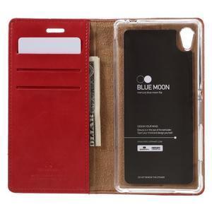 Moons PU kožené klopové pouzdro na Sony Xperia M4 Aqua - červené - 6