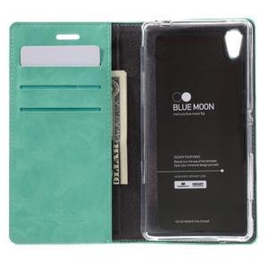 Moons PU kožené klopové puzdro pre Sony Xperia M4 Aqua - azurové - 6