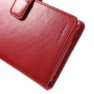 Moon PU kožené puzdro pre mobil Sony Xperia M4 Aqua - červené - 6
