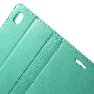 Moon PU kožené puzdro pre mobil Sony Xperia M4 Aqua - azurové - 6