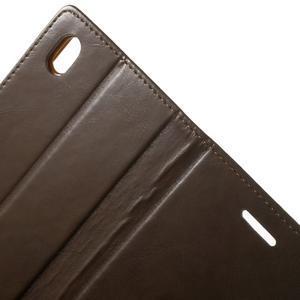 Moon PU kožené puzdro pre mobil Sony Xperia M4 Aqua - hnedé - 6