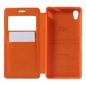 Okýnkové PU kožené pouzdro na Sony Xperia M4 Aqua - oranžové - 6