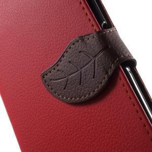 Leaf PU kožené pouzdro na mobil Sony Xperia M4 Aqua - červené - 6