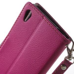 Leaf PU kožené pouzdro na mobil Sony Xperia M4 Aqua - rose - 6