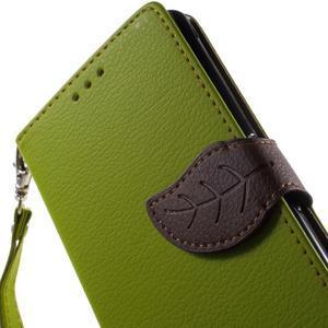 Leaf PU kožené puzdro pre mobil Sony Xperia M4 Aqua - zelené - 6