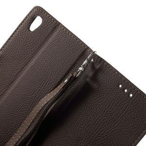 Leaf PU kožené puzdro pre mobil Sony Xperia M4 Aqua - hnedé - 6