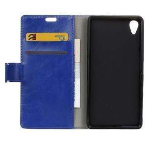 Horse PU kožené puzdro pre Sony Xperia X - modré - 6
