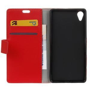 Grain koženkové puzdro pre Sony Xperia X - červené - 6