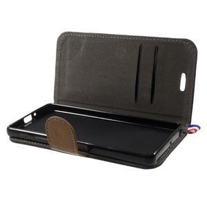 Denim textilné/koženkové puzdro pre Sony Xperia XA - čierne - 6