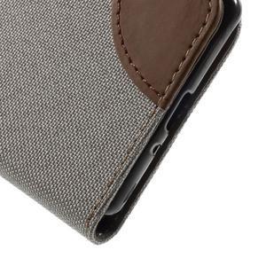 Denim textilní/koženkové pouzdro na Sony Xperia XA - šedé - 6