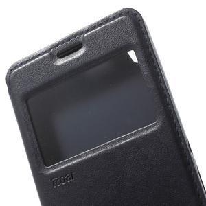 Royal PU kožené puzdro s okienkom na Sony Xperia XA - tmavomodré - 6