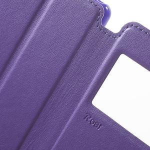 Royal PU kožené puzdro s okienkom na Sony Xperia XA - fialové - 6