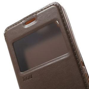 Royal PU kožené puzdro s okienkom na Sony Xperia XA - hnedé - 6