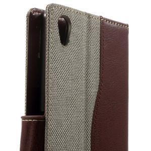 Jeansy PU kožené/textilné puzdro pre Sony Xperia XA - sivé - 6