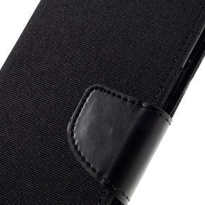 Canvas PU kožené/textilné puzdro pre mobil Sony Xperia XA - čierne - 6