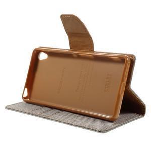 Canvas PU kožené/textilné puzdro pre mobil Sony Xperia XA - sivé - 6