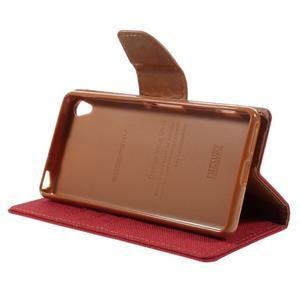 Canvas PU kožené/textilné puzdro pre mobil Sony Xperia XA - červené - 6