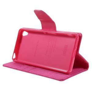 Canvas PU kožené/textilní pouzdro na mobil Sony Xperia XA - rose - 6
