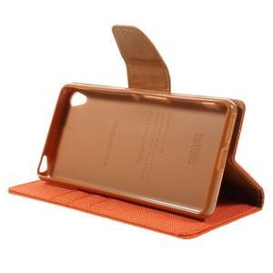 Canvas PU kožené/textilné puzdro pre mobil Sony Xperia XA - oranžové - 6