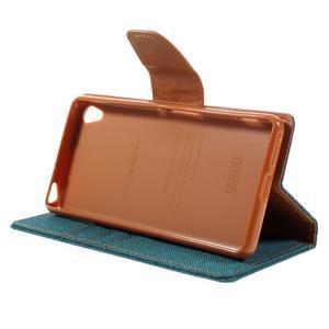 Canvas PU kožené/textilní pouzdro na mobil Sony Xperia XA - zelenomodré - 6