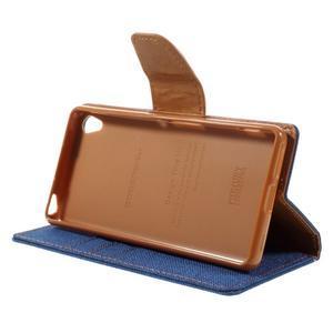 Canvas PU kožené/textilné puzdro pre mobil Sony Xperia XA - modré - 6