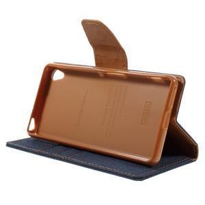 Canvas PU kožené/textilní pouzdro na mobil Sony Xperia XA - tmavěmodré - 6