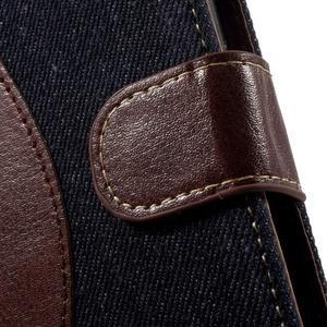 Jeansy PU kožené/textilné puzdro pre Sony Xperia XA - tmavomodré - 6