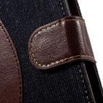 Jeansy PU kožené/textilné puzdro pre Sony Xperia XA - tmavomodré - 6/7