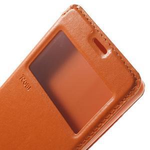 Royal PU kožené puzdro s okienkom na Sony Xperia XA - oranžové - 6