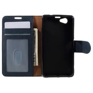 Clothy PU kožené pouzdro na Sony Xperia Z1 Compact - tmavěmodré - 6