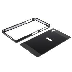 Kovový kryt s plastovými zády na Sony Xperia Z1 - černý - 6