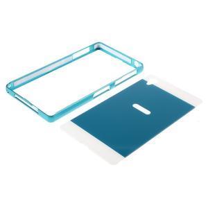 Kovový kryt s plastovými zády na Sony Xperia Z1 - modrý - 6