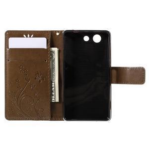 Butterfly PU kožené pouzdro na mobil Sony Xperia Z3 Compact - coffee - 6