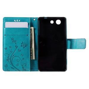 Butterfly PU kožené puzdro pre mobil Sony Xperia Z3 Compact - modré - 6