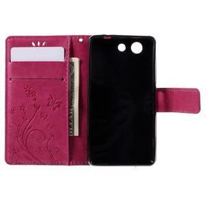 Butterfly PU kožené puzdro pre mobil Sony Xperia Z3 Compact - rose - 6
