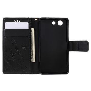 Butterfly PU kožené puzdro pre mobil Sony Xperia Z3 Compact - čierne - 6