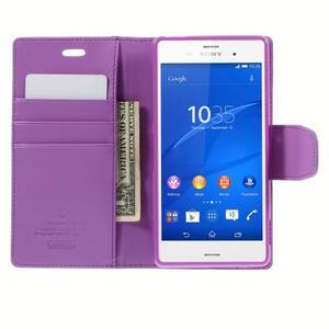 Sonata PU kožené pouzdro na mobil Sony Xperia Z3 - fialové - 6