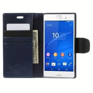 Sonata PU kožené pouzdro na mobil Sony Xperia Z3 - tmavěmodré - 6