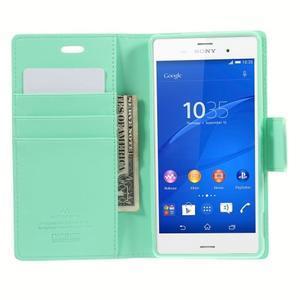 Sonata PU kožené puzdro pre mobil Sony Xperia Z3 - azurové - 6